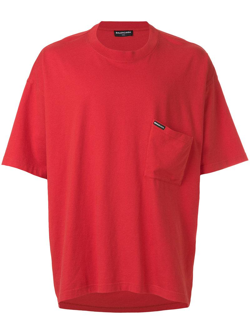 Lyst Balenciaga Droopy Short Sleeve T Shirt In Red For Men