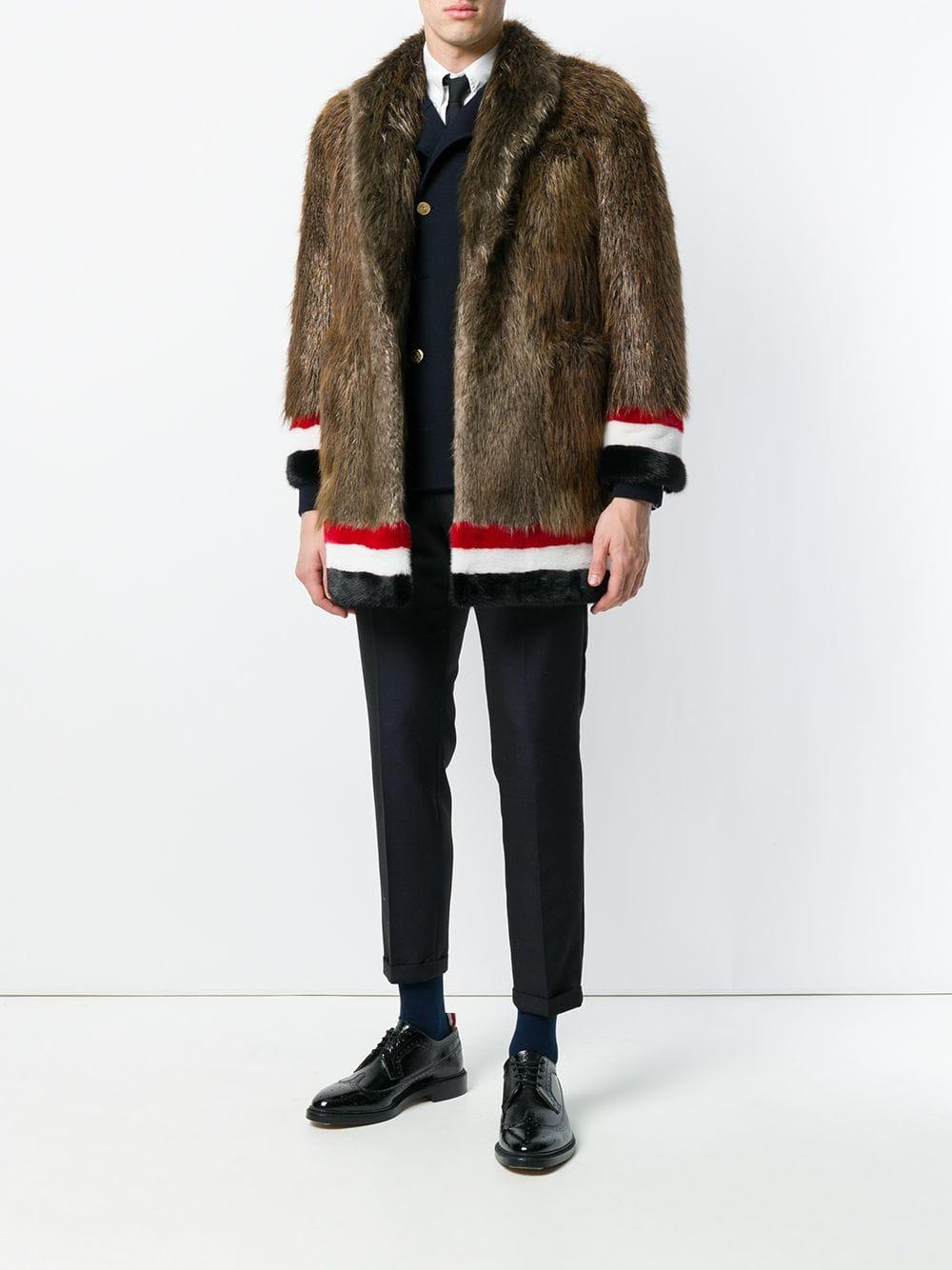 2df005cc8abc Lyst - Thom Browne Painted Beaver Fur Sack Overcoat in Brown for Men