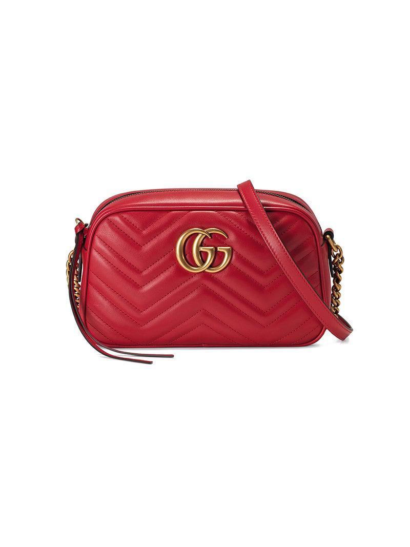 1c01e43e5837 Gucci GG Marmont Small Matelassé Shoulder Bag in Red - Save 8% - Lyst