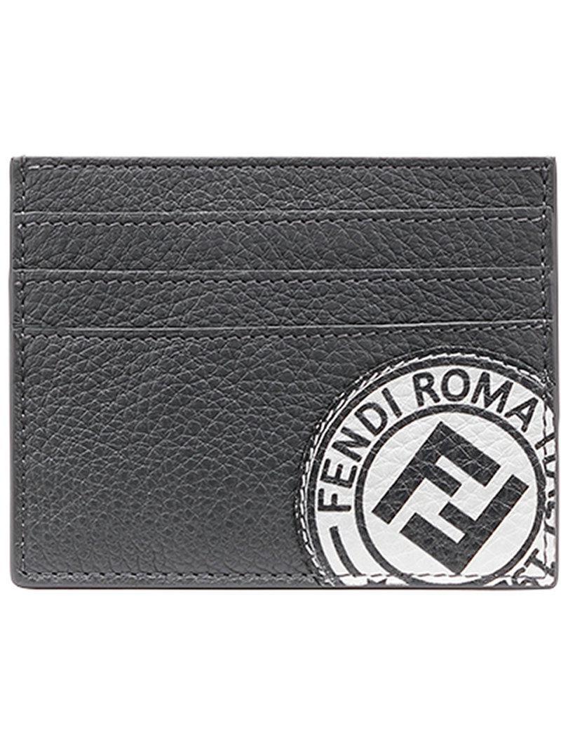 7339c46b95c Lyst - Fendi Logo Patch Cardholder in Black for Men
