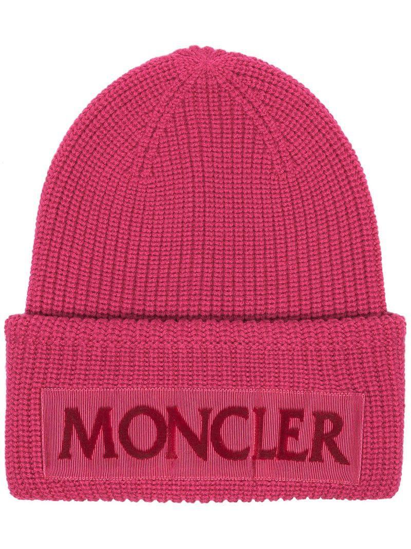 61c26a80d0b Moncler - Pink Logo Wool Beanie - Lyst. View fullscreen