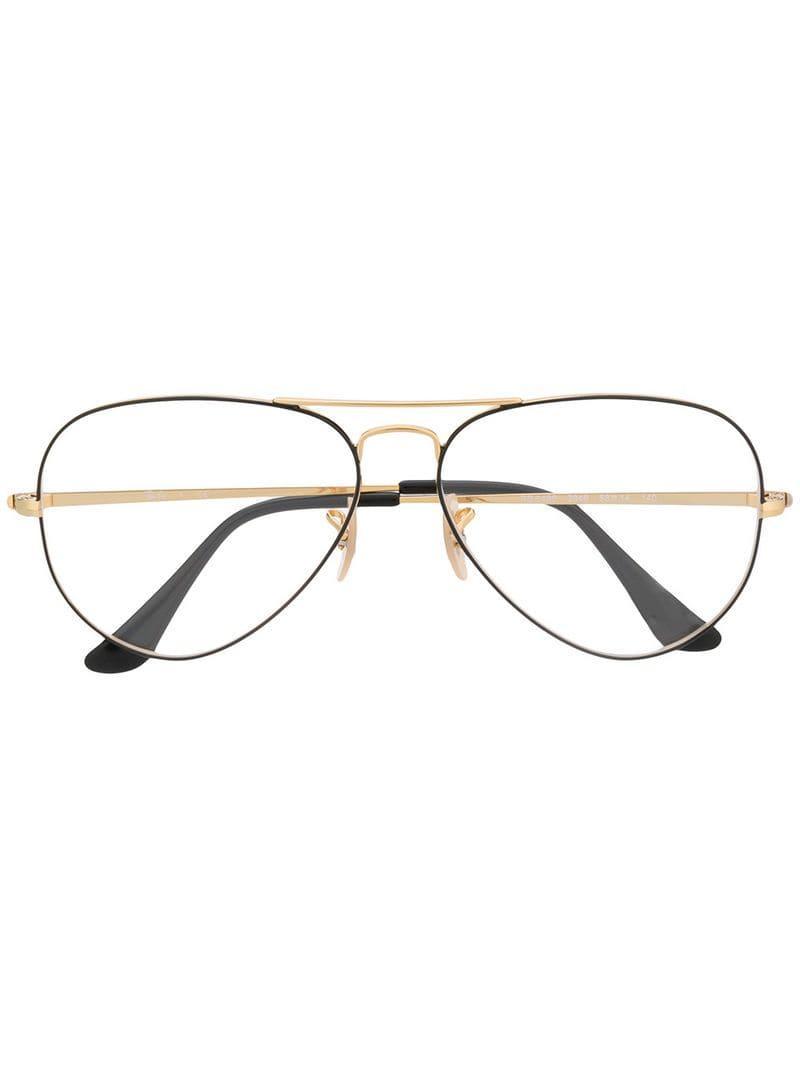 e8ccb90e6e048 Ray-Ban Aviator Frame Glasses in Metallic - Lyst