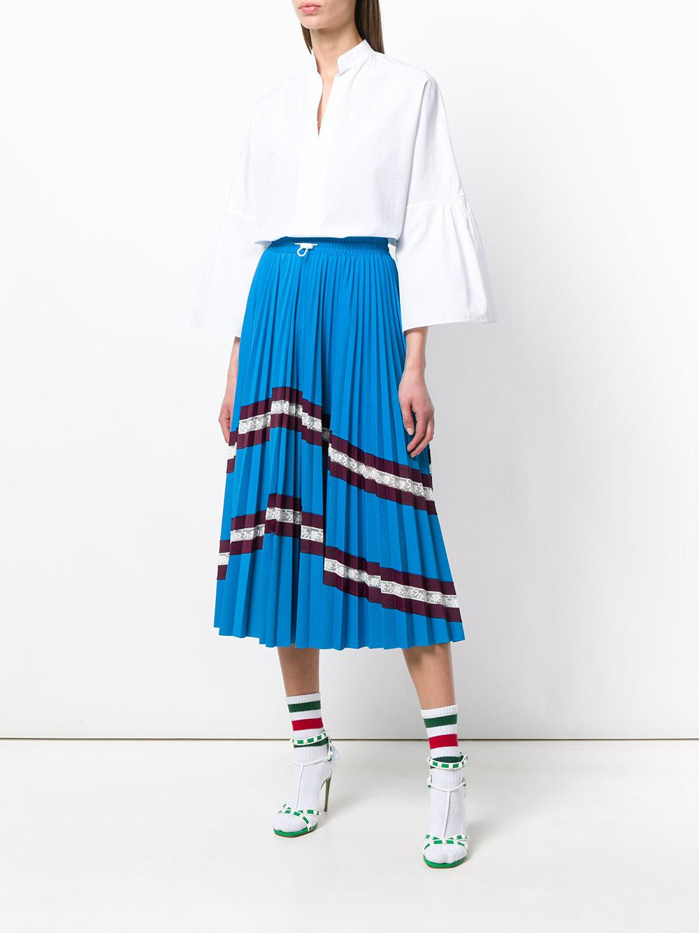 d8c03c5e Valentino Chevron Pleated Midi Skirt in Blue - Save 24% - Lyst