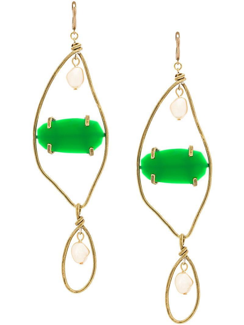 Marni large gemstone pendant earrings - Metallic f8j7DR