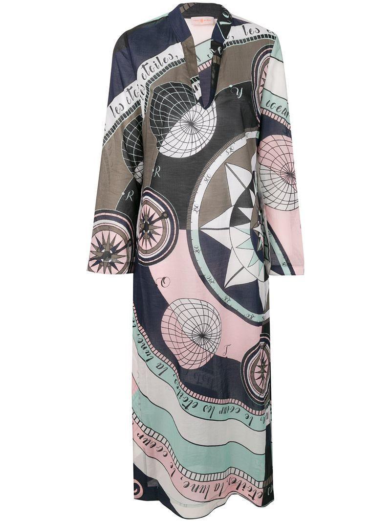 0b358402497 Tory Burch Constellation Print Dress in Green - Lyst