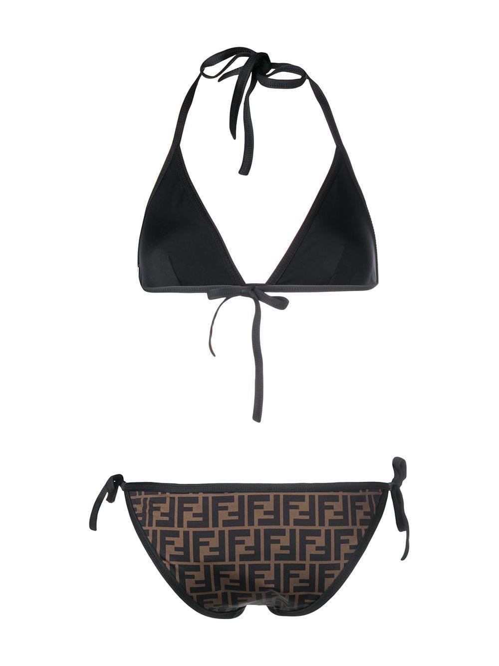 9491241140 Lyst - Fendi Reversible Ff Logo Padded Bikini in Brown