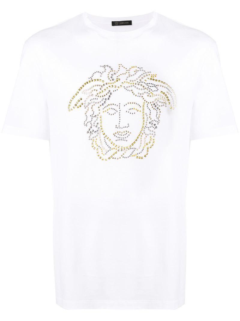 25ceb490fcbb Versace Studded Medusa T-shirt in White for Men - Save 21% - Lyst