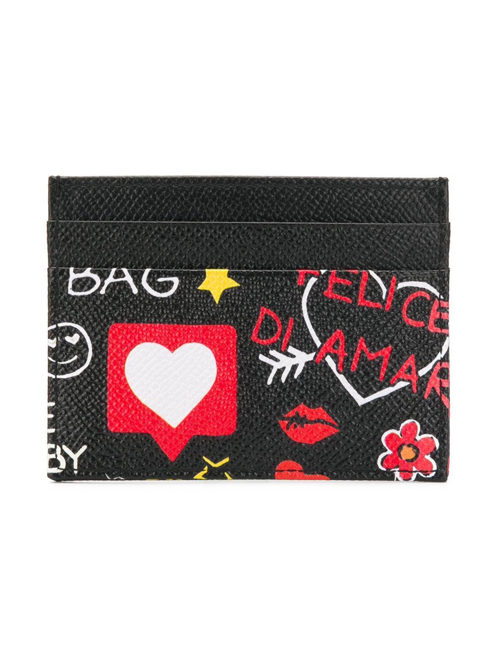 Mural print card holder - Black Dolce & Gabbana QmGgzH