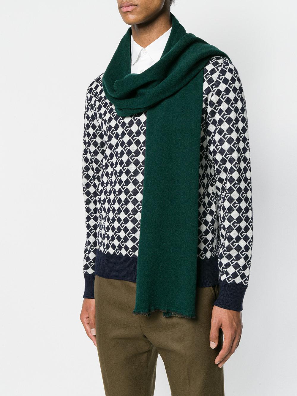 7af577c55fb7 Lyst - Écharpe en maille à bords frangés Gucci pour homme en coloris Vert
