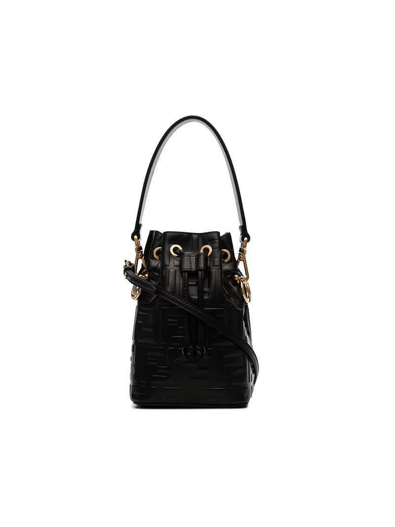191ab501d9 Fendi Black Mon Tresor Mini Leather Bucket Bag in Black - Lyst