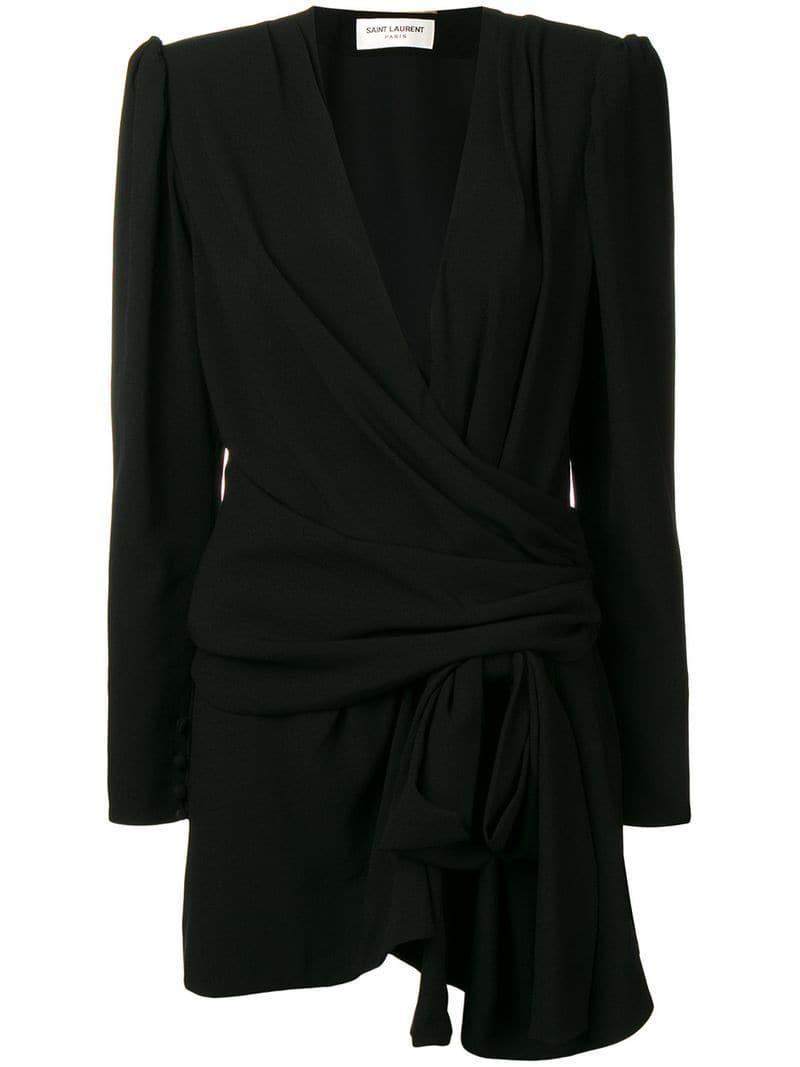 81c6146d23 Saint Laurent - Black Sablet Mini Dress - Lyst. View fullscreen