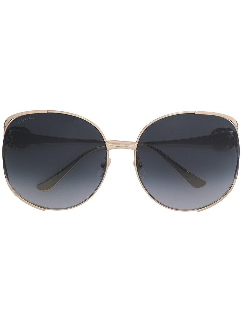 e97472da21720 Gucci Oversized Round Frame Sunglasses in Metallic