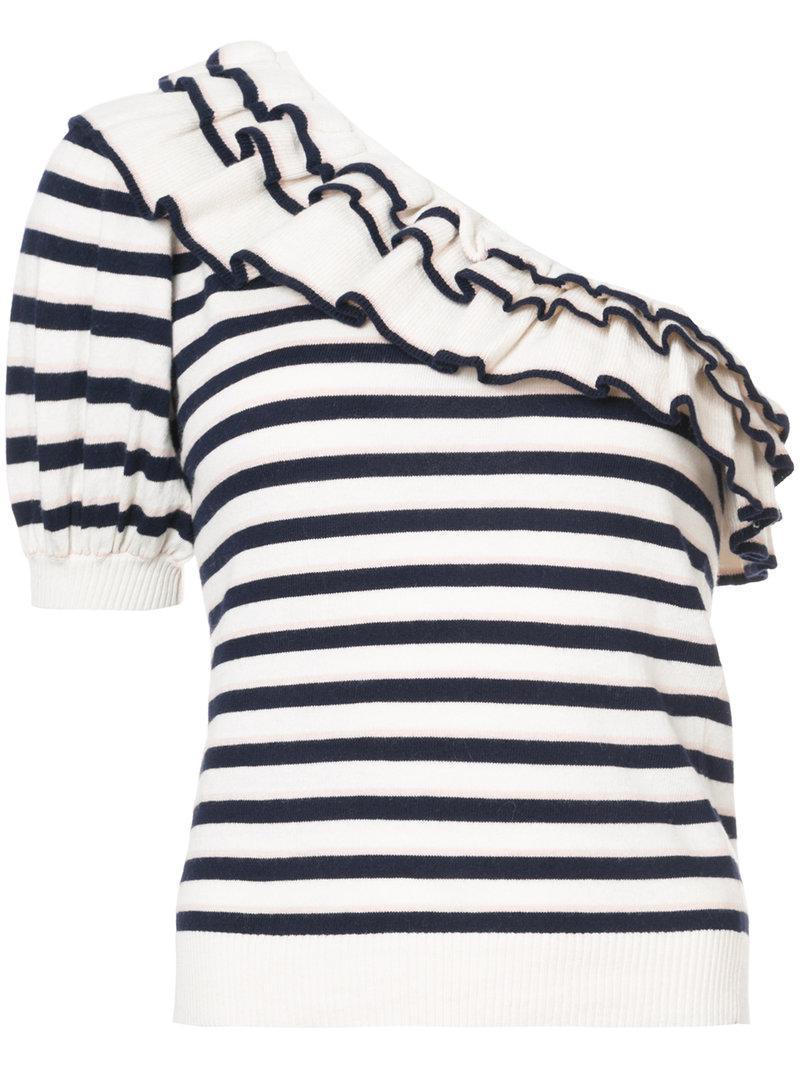 Laila striped asymmetric top - Blue Ulla Johnson Best Price View Cheap Online Best Place For Sale 2mMpq0sG