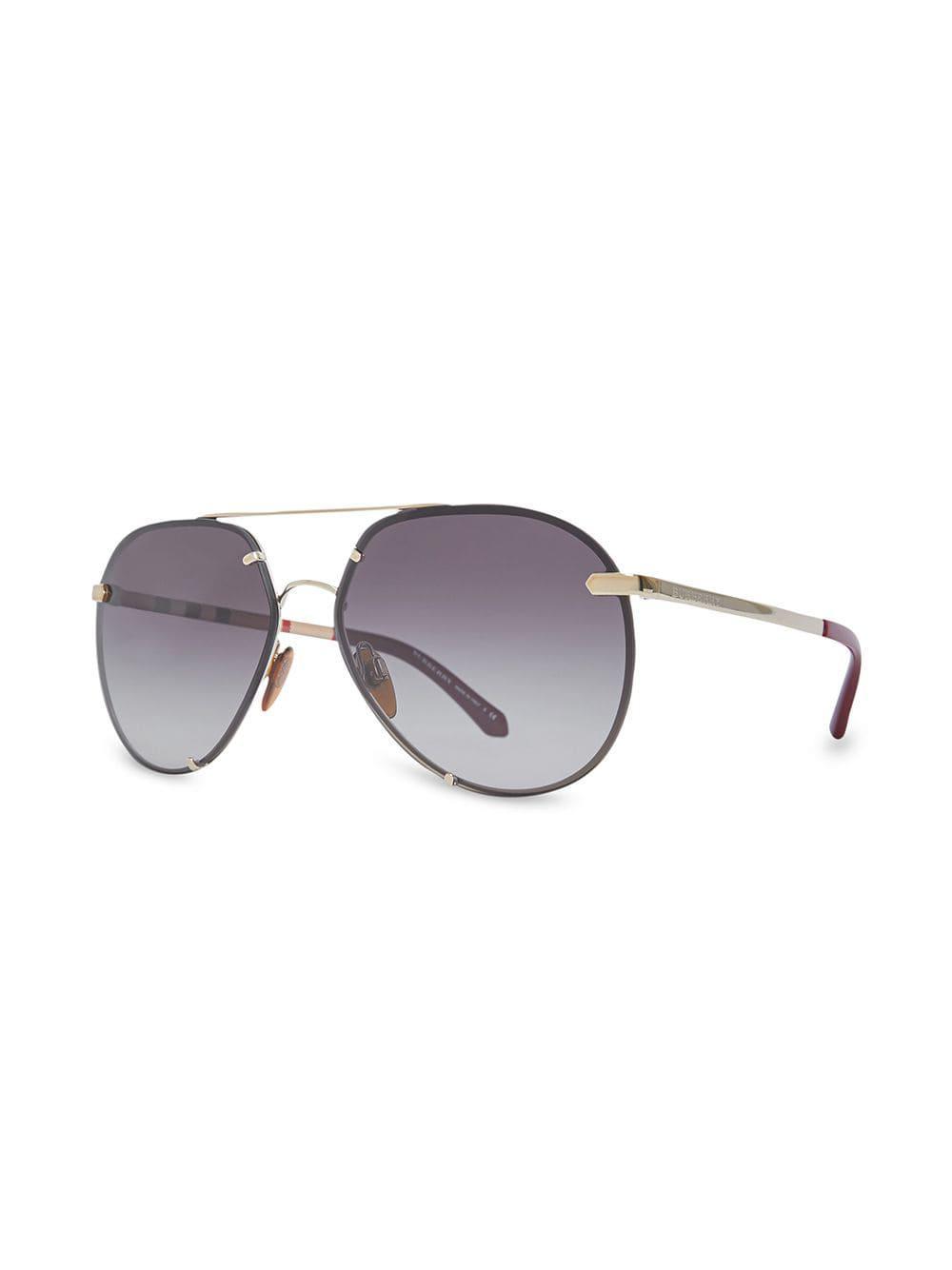 58e337097cd Burberry - Gray Check Detail Pilot Sunglasses - Lyst. View fullscreen