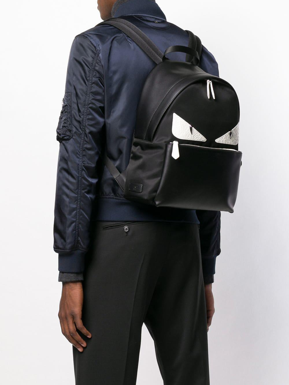 de6e713cc83a Fendi - Black Eyes Printed Backpack for Men - Lyst. View fullscreen