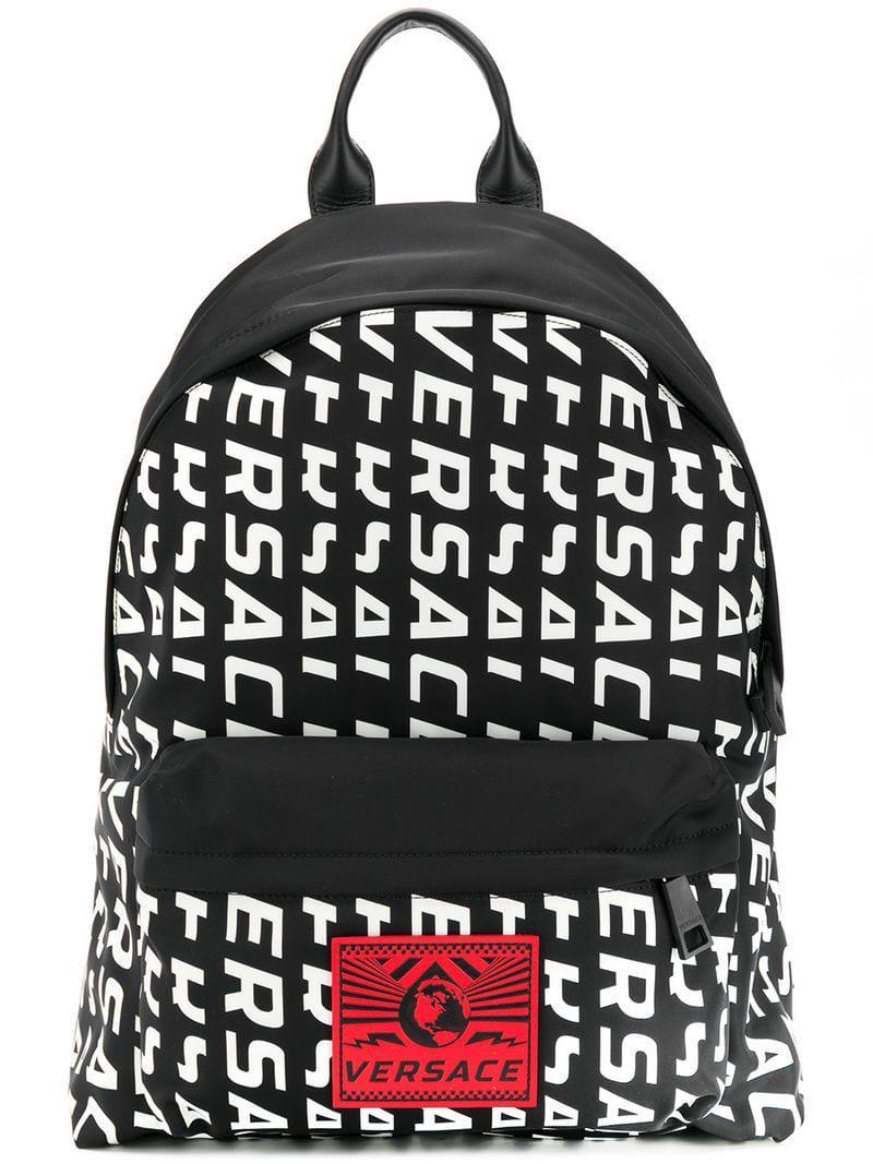 1a13b1803a Versace - Black Logo Backpack for Men - Lyst. View fullscreen