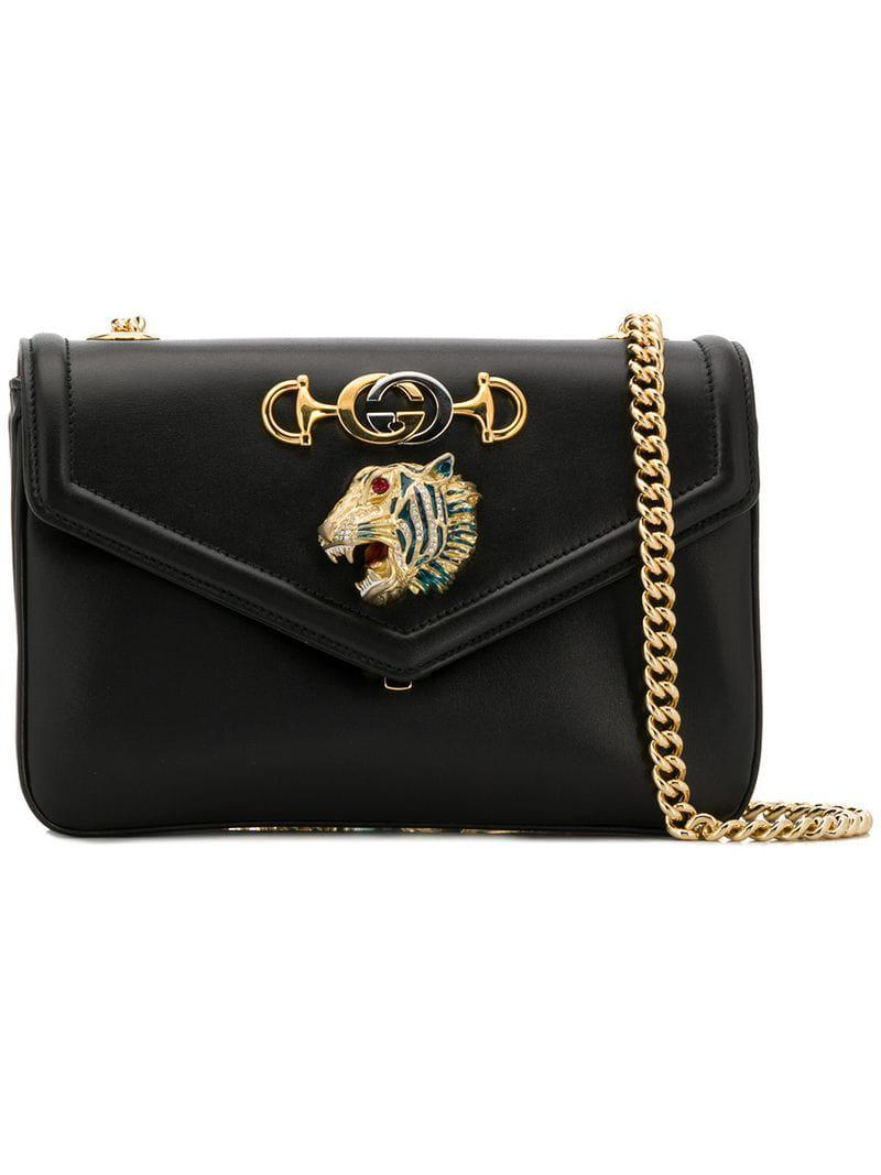 688de580430a96 Gucci Rajah Medium Shoulder Bag in Black - Lyst