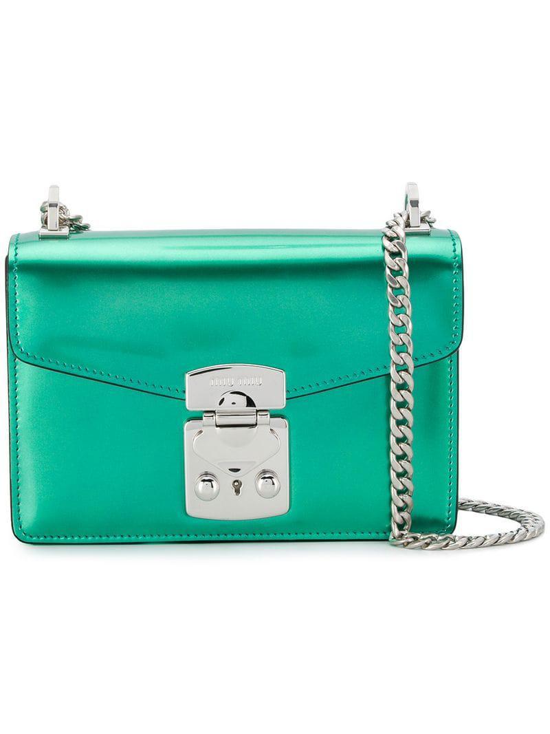 405086377101 Lyst - Miu Miu Box Crossbody Bag in Green