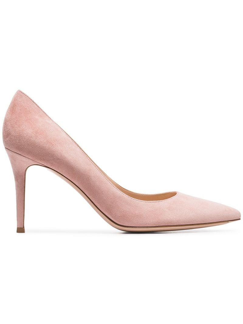 27056be192 ... Pink Nude 85 Suede Leather Pumps - Lyst. View fullscreen