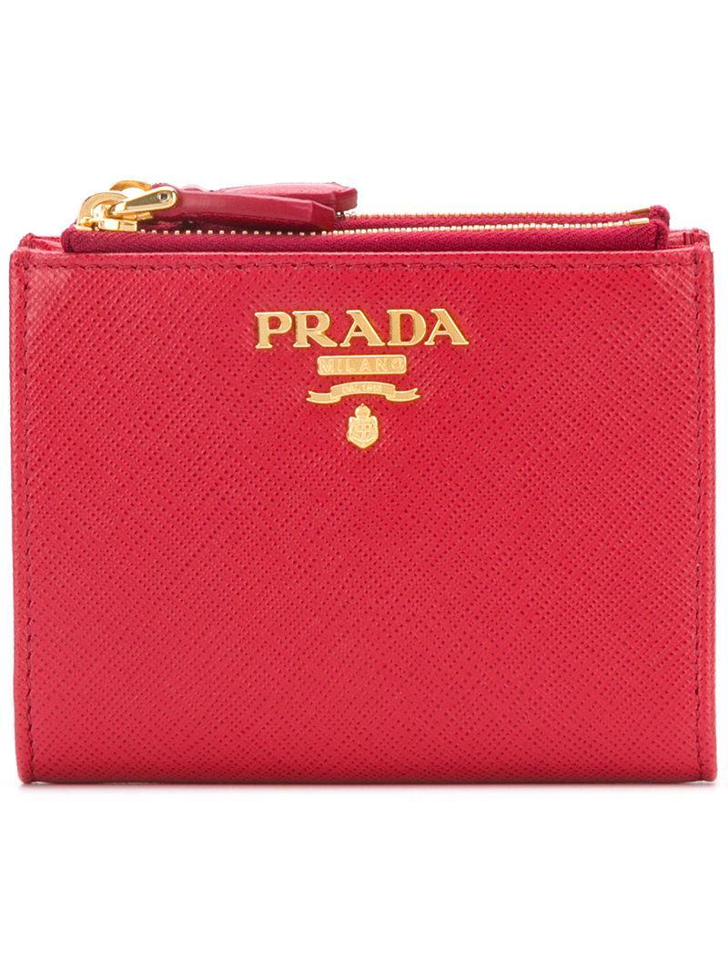 695f32f80d2e3d Prada - Red Saffiano Wallet - Lyst. View fullscreen
