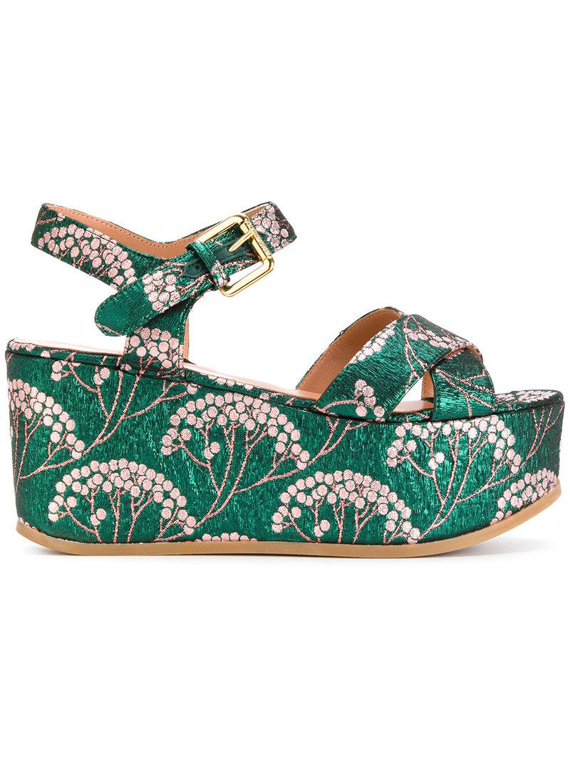 L Autre Chose Jacquard wedge sandals
