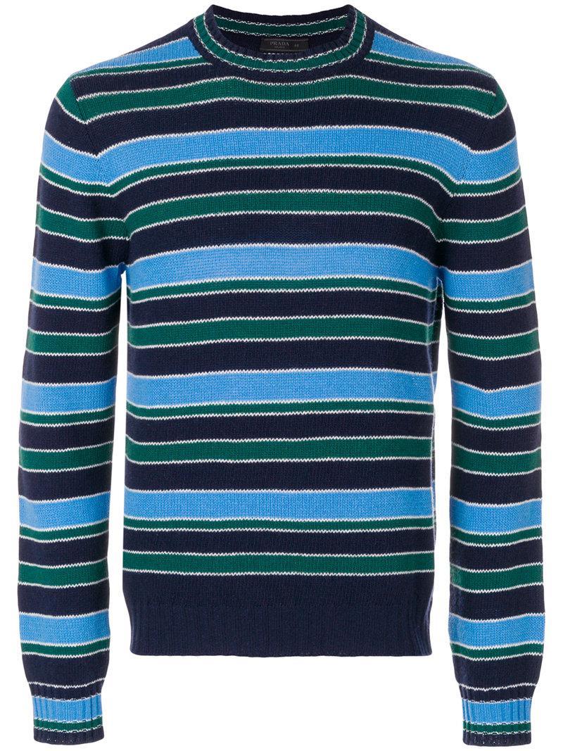 0de21b75e637 Lyst - Prada Crew Neck Striped Jumper in Blue for Men - Save 20%