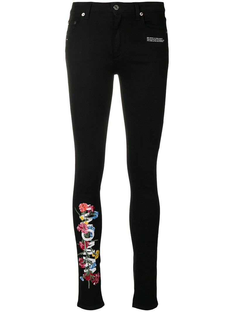 Fashion week White and black floral skinny jeans for lady