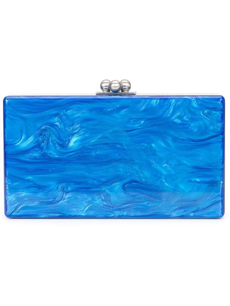 f1e269a1e8f0 Lyst - Клатч С Мраморным Эффектом Edie Parker, цвет: Синий