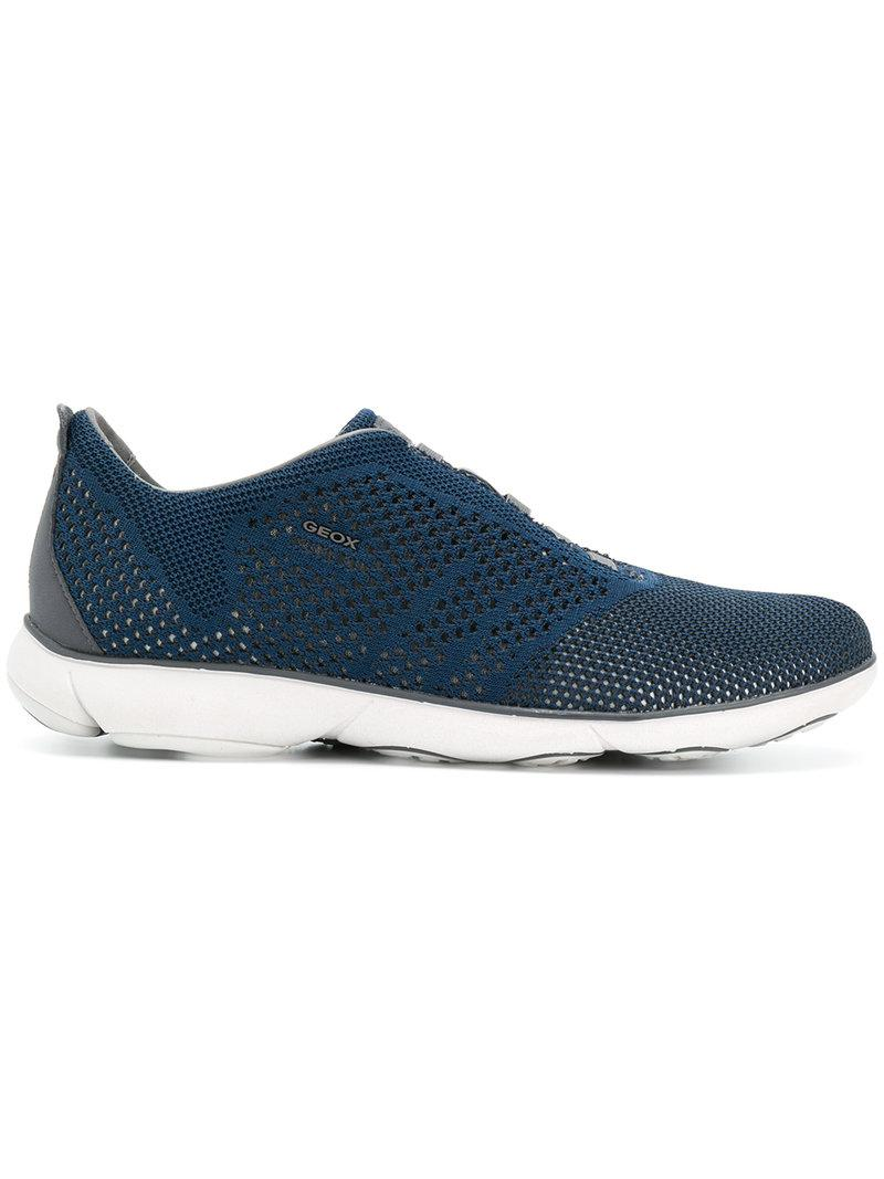 perforated lace-up sneakers - Blue Geox VG5D2mv4