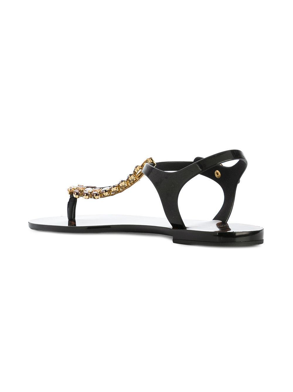 bb4e30575bfa Lyst - Dolce   Gabbana Beachwear Nappa Sandals in Black