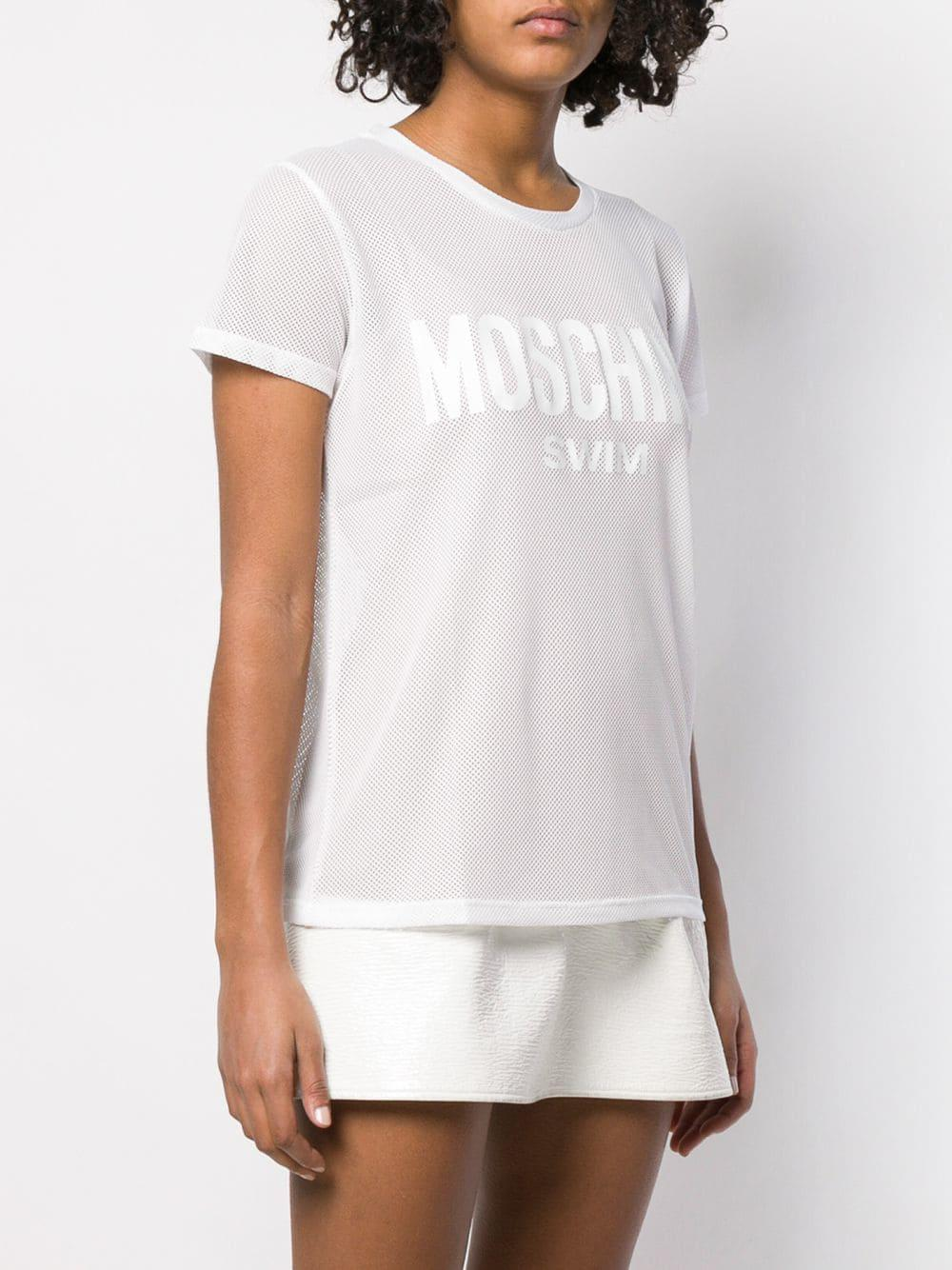 0ee63f03c56d Moschino - White Sheer Logo Patch T-shirt - Lyst. View fullscreen