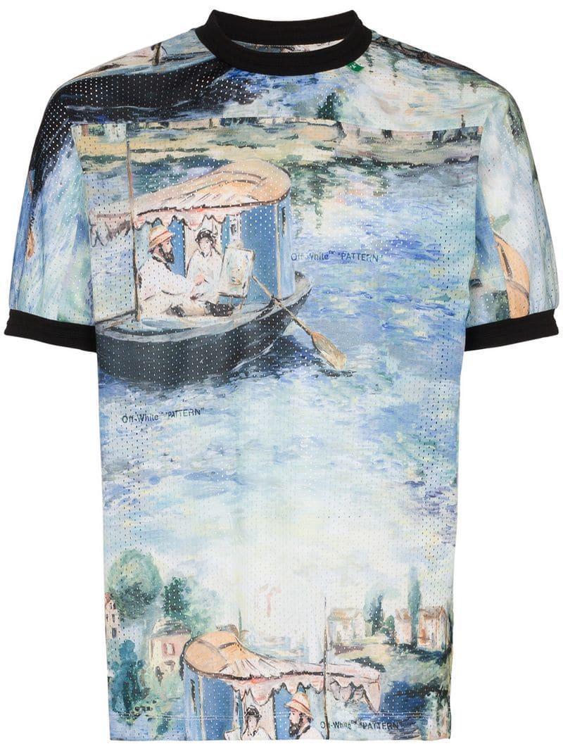 ff7b185fb3a5 Lyst - Off-White C O Virgil Abloh Lake Print Mesh T Shirt in Green ...