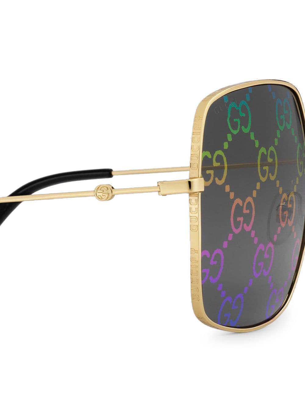 b0909565a6b76 Gucci - Metallic Rectangular-frame Sunglasses - Lyst. View fullscreen