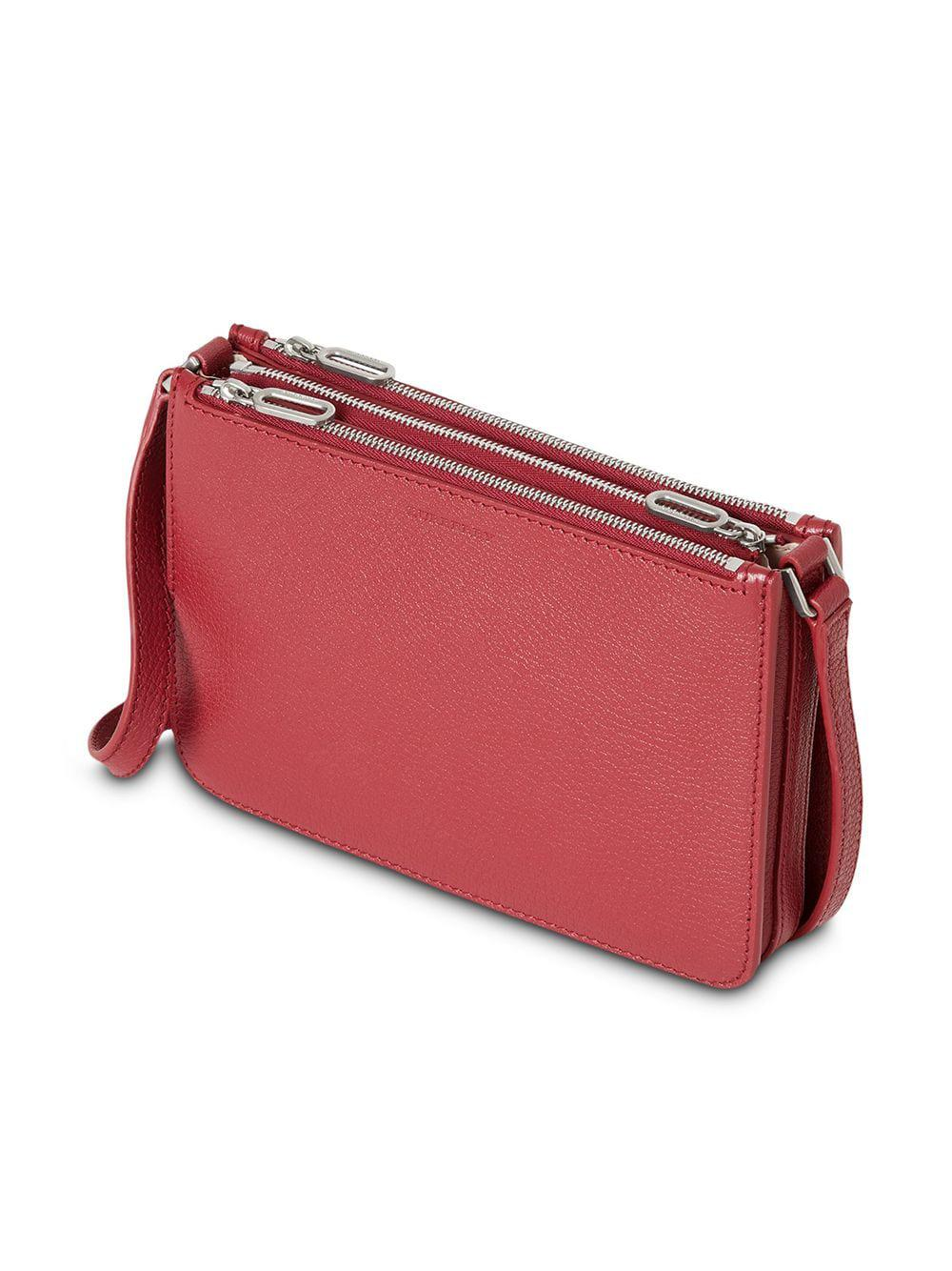 46827a26bee4 Burberry - Red Triple Zip Grainy Leather Crossbody Bag - Lyst. View  fullscreen