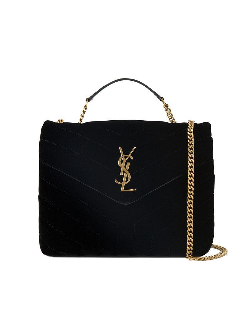 90906b6591d1 Saint Laurent Small Black Loulou Monogram Velvet Bag in Black - Lyst