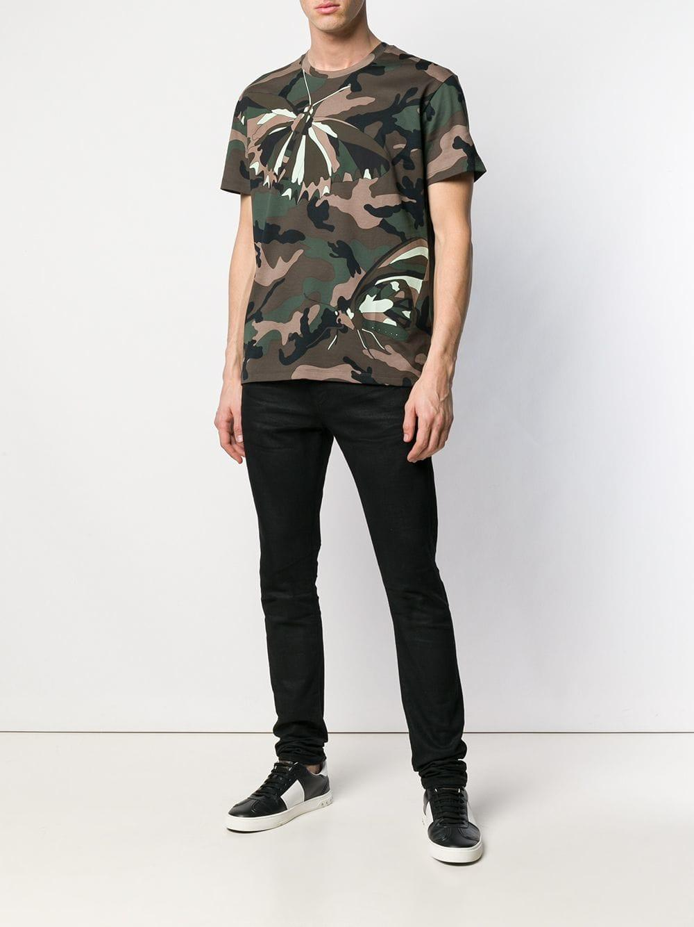 23e0a3c5f Lyst - Valentino Moth Camouflage T-shirt in Green for Men