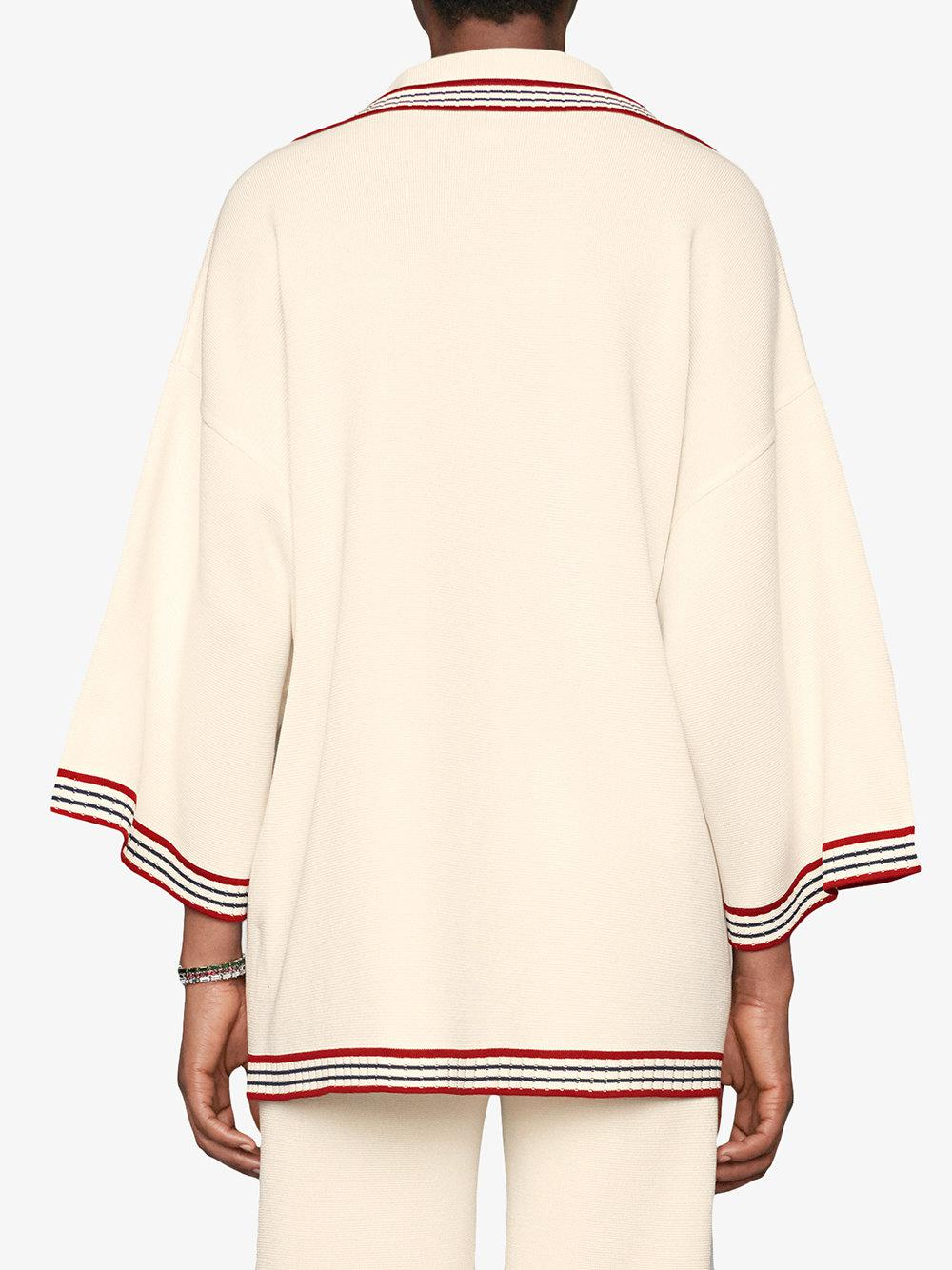 07a2cafe Gucci Silk Cotton Cardigan With Stripes in White - Lyst