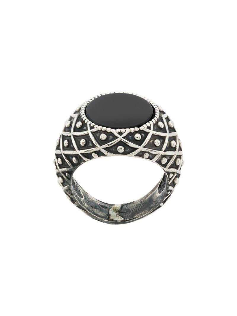 Onyx-embellished sterling-silver ring Emanuele Bicocchi x1kH2