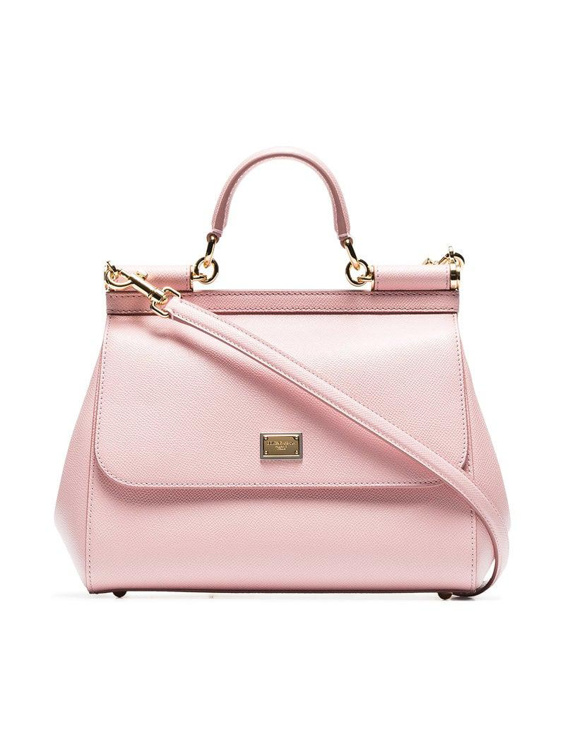 67bc06d7181 Lyst - Dolce   Gabbana Pink Sicily Medium Leather Tote in Pink ...