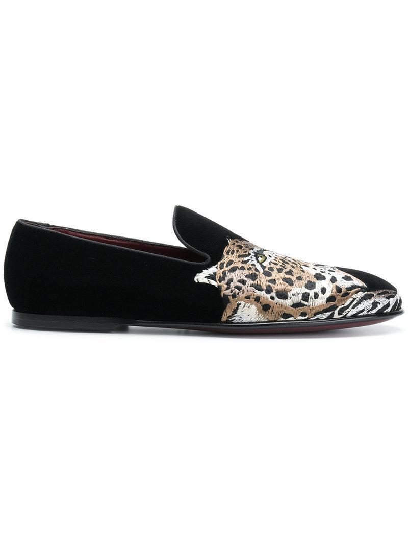 849f6f271ae Lyst - Dolce   Gabbana Leopard Appliqué Loafers in Black for Men