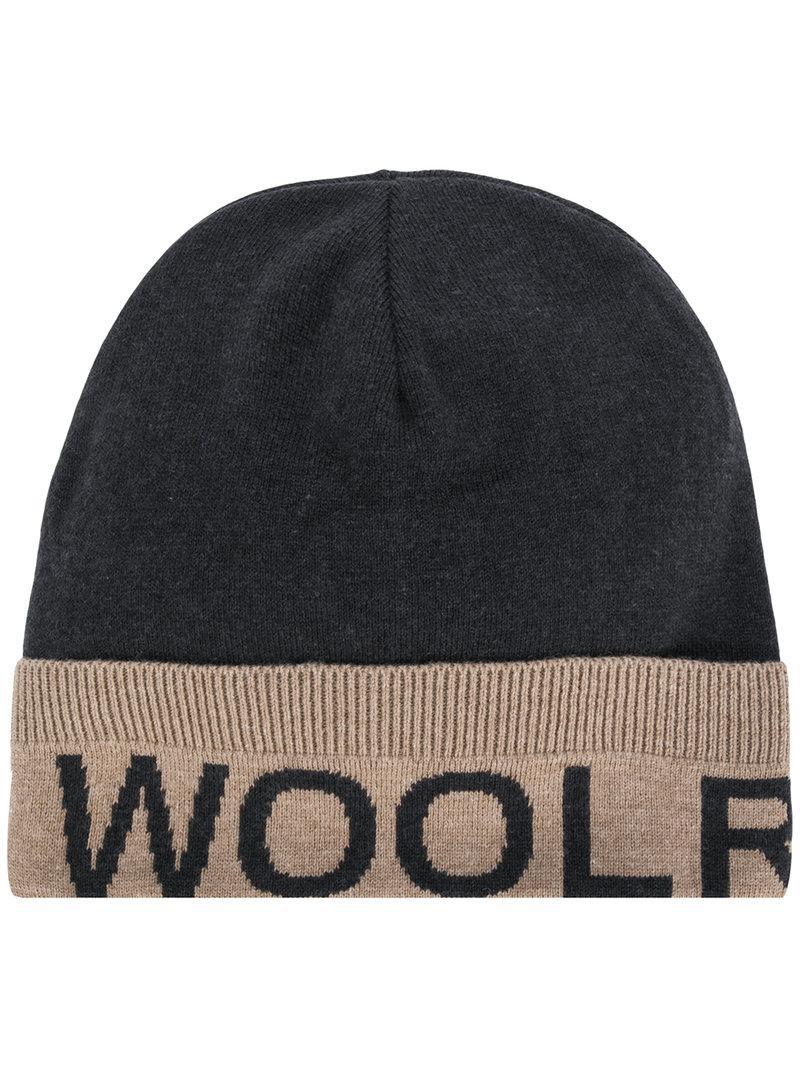 f97148db9444f Woolrich Logo Beanie in Gray for Men - Lyst