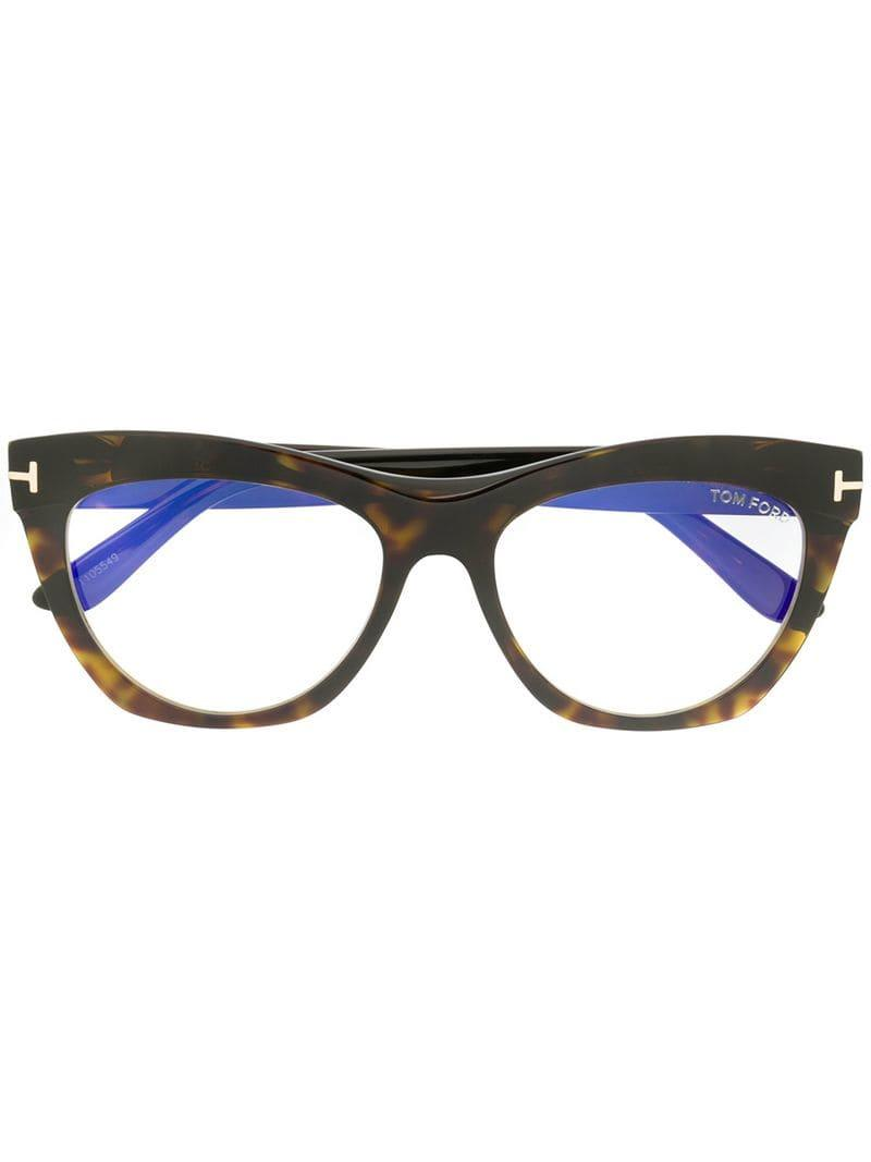 ea0588568b9 Lyst - Tom Ford Cat-eye Glasses in Brown