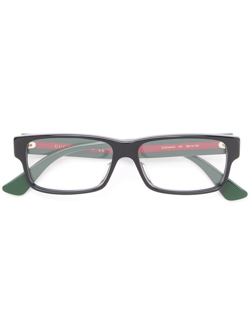bfa5ecd9b2e Gucci Rectangular Glasses in Black for Men - Lyst