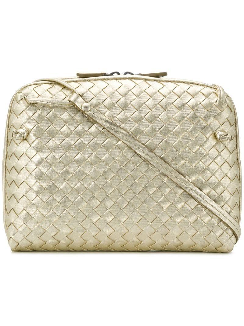Lyst - Bottega Veneta Intrecciato Grosgrain Crossbody Bag in Metallic 7b36a1d3cfbfe