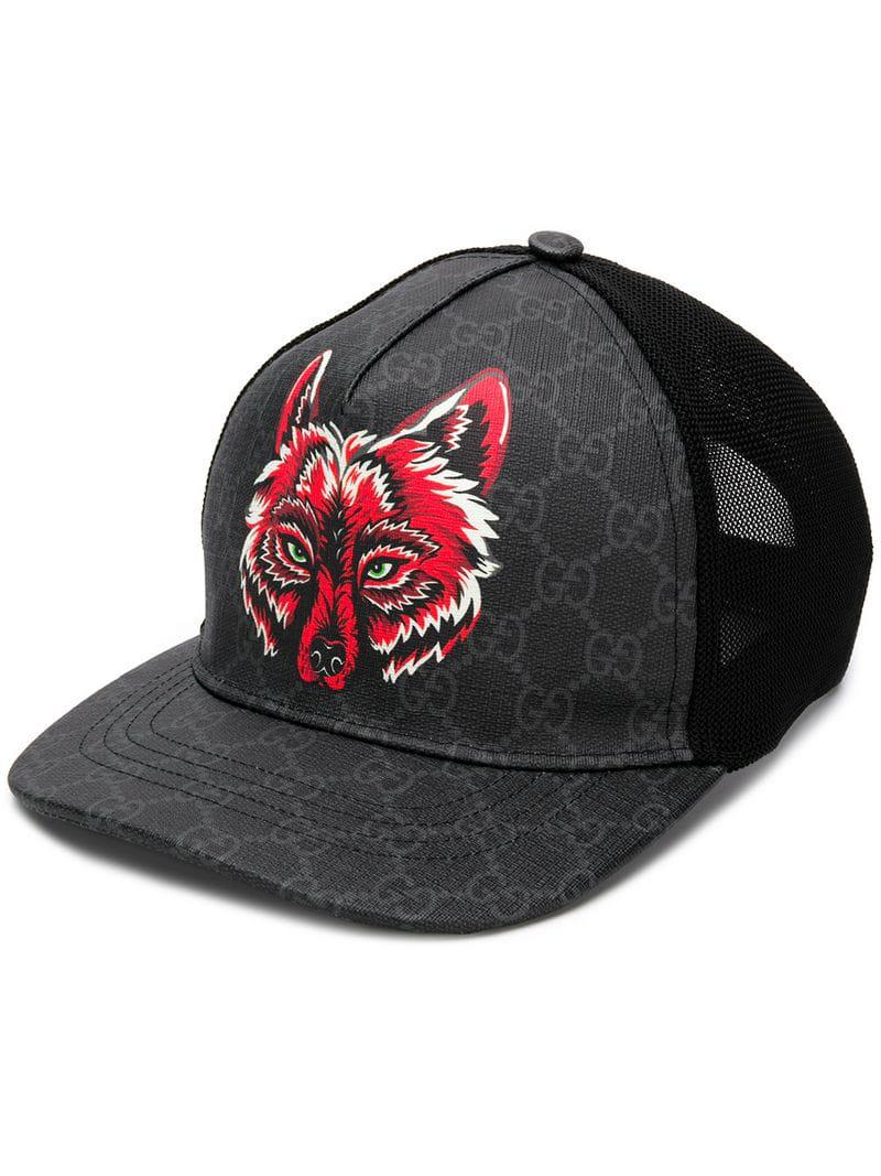 e00bc6b7b Gucci GG Supreme Baseball Hat With Wolf in Black for Men - Lyst