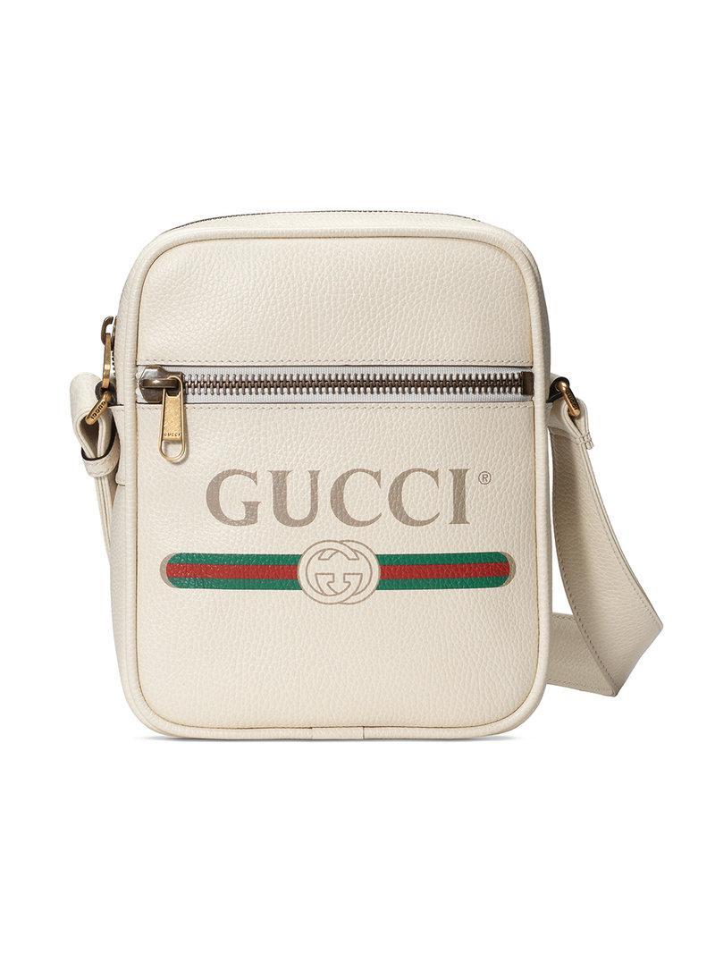 635f0b3192be Gucci - White Print Messenger Bag for Men - Lyst. View fullscreen