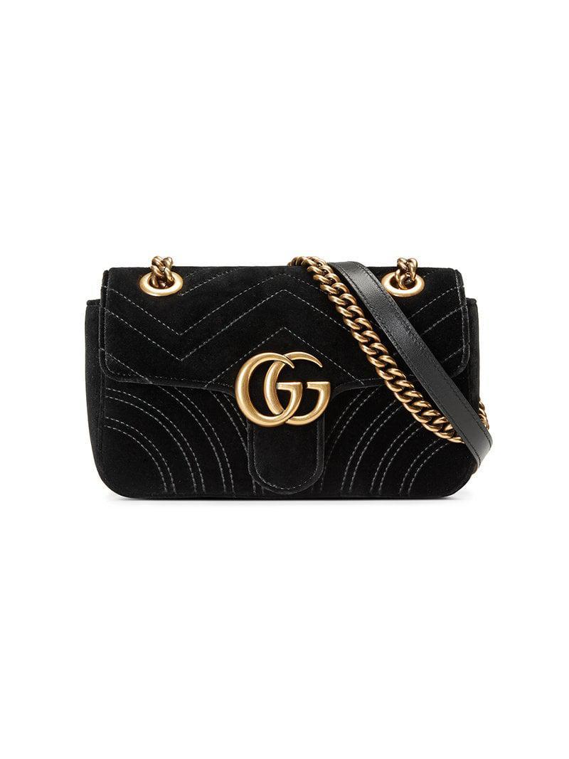 Lyst - Gucci GG Marmont Matelassé Mini Bag in Black - Save 11% 3bf6109296975