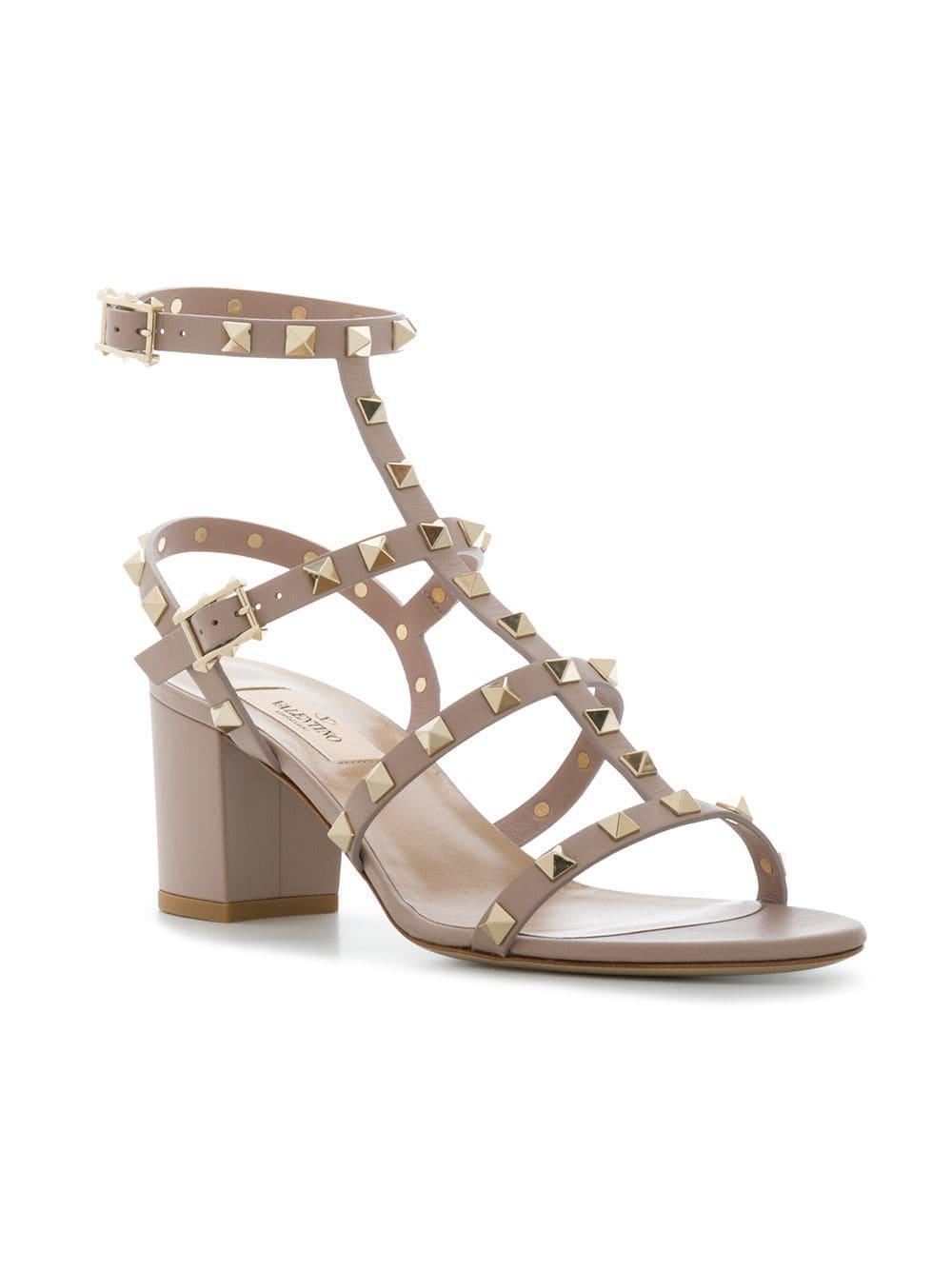 1840d8a74c0b Valentino - Metallic Garavani Rockstud Sandals - Lyst. View fullscreen