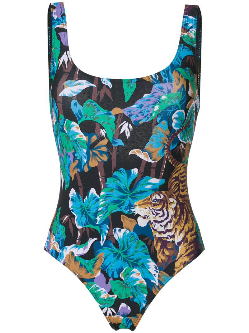 f87ba683a1 Lyst - KENZO Bamboo Tiger Swimsuit in Blue
