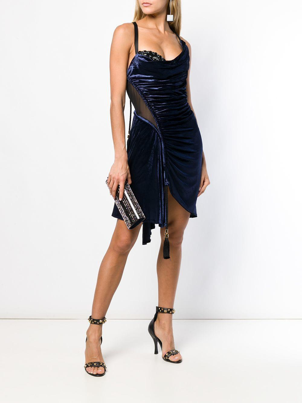 a1931be416b Versace Perfectly Fitted Cocktail Dress in Blue - Lyst